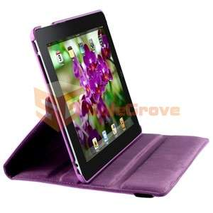 360 Swivel Purple Smart Cover Leather Case Rotating Stand For iPad 2