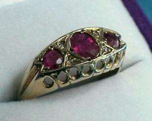 Antique VICTORIAN 9Ct .375 Gold RUBY DIAMOND BAND RING