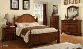 NEW 4PC PALM COAST CHERRY OAK WOOD PANEL BEDROOM SET