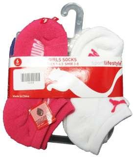 PUMA Girls 6 Pack Low Cut Ankle Socks Girls Sz 5 6.5 (Shoe 3 to 8) NWT