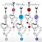 B#114  5pc Twin Heart Belly/Navel rings wholesale