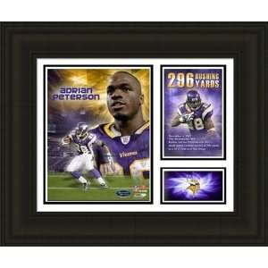Framed Adrian Peterson 296 Rushing Yards Milestones and