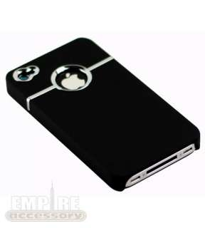 Deluxe Chrome Trim Logo Rubberized Hard Case for Apple iPhone 4 At&t