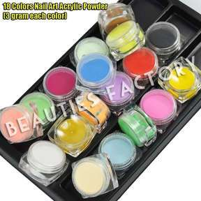 18 COLOR ACRYLIC POWDER Nail Art Paint False Tips ♥ 409