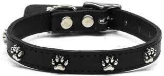 Black Dog Pet Puppy Soft Leather Stud Paw Print Collar