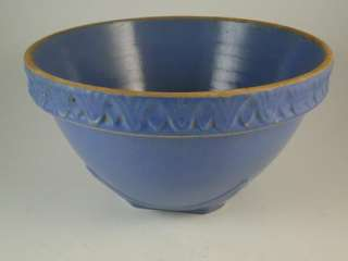 Antique Art Pottery Mixing Bowl Blue Drape Embossed Vintage Old 1930s