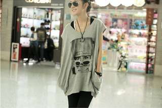 Fashion Glasses Woman Printed Plus Size Bat wing T shirt Grey i2700534