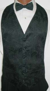 Dark Green Paisley Tuxedo Vest / Tie Wedding Large