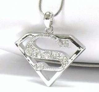 Superman Emblem Crystal Necklace White Gold Plate