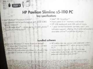 HP Pavilion Slimline s5 1110 Desktop Computer   Black R$519