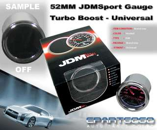 JDM 2 UNIVERSAL TURBO BOOST GAUGE SMOKED TINT 52MM