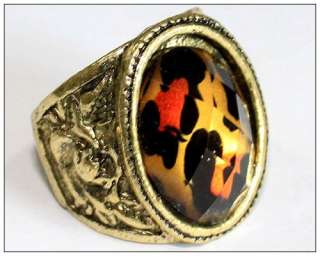 HOT Wild Leopard Print Bronze European Retro Ring Rings free ship New
