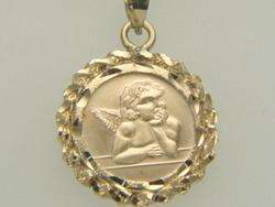 14K Yellow Gold Raphael Cherub Angel Pendant Necklace
