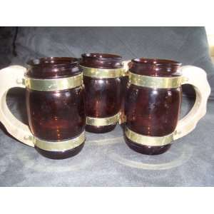 Vintage Siesta Ware Amber Glass Mugs with Wooden Handles