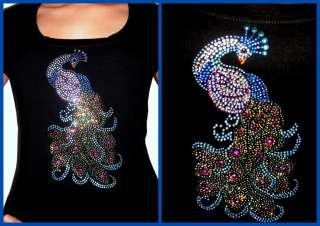 RHINESTONE BLUE PEACOCK BIRD T SHIRT~S M L XL 1X 2X 3X
