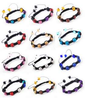NEW 9MM Disco Crystal Ball Beads Handicraft Braid 12Colors Charms