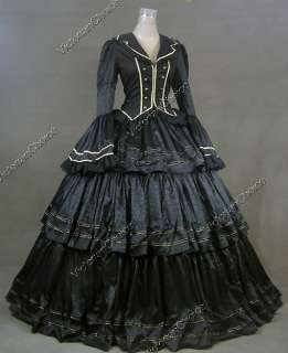 Civil War Victorian Brocade and Cotton Ball Gown Dress Prom 188 L