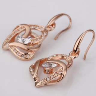 E73 18K rose Gold plated white gem Swarovski crystal heart earrings