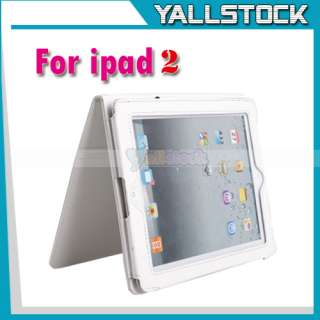 White Leather Case Cover Pouch Stand For Apple iPad 2