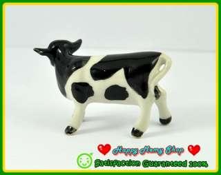 Figurine Ceramic Farm Animal Statue Black/White Ox,Cow Farm,Collection