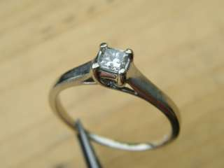 ESTATE 14K WHITE GOLD .19CT DIAMOND SOLITAIRE RING SIZE 6.75 585