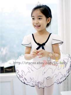 white Child toddler Pink girl Dance Leotard Ballet Tutu Skirt Dress 3