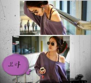 New Korea Women Strapless Long Sleeve Batwing Shirt Top 2 Colors 1070