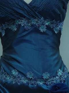Cherlone Plus Size Satin Dark Blue Long Ball Gown Wedding/Evening