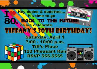 Back to the 80s Birthday Party Invitation add water bottle labels