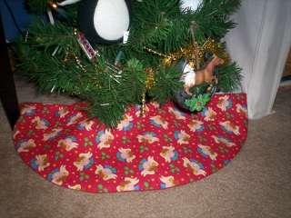 Table Top Handmade Christmas Tree Skirt ~ Angels on Red