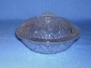 PRESSED GLASS CLEAR CANDY DISH W/ LID PASARI INDONESIA