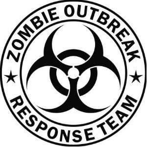 Zombie Outbreak Response Team 5 Black Die Cut Vinyl Decal