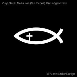 JESUS FISH W/ CROSS Vinyl Decal Car Window Sticker
