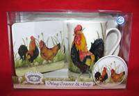 KENT POTTERY ROOSTER COFFEE CUP MUG,COASTER,& TRAY NIB