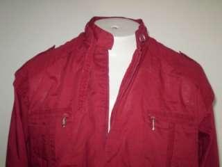 vtg 80s cafe racer pull over jacket red new wave punk L