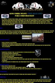 Thin Blue Line ParaCord Bracelet (King Cobra Weave)