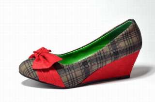 England Lattice Grid Bowknot Wedge Womens Shoes Fashion High Heel