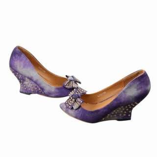 Cowboy Denim High Heels Womens Shoes Peep Toes Wedge Pumps B09Z
