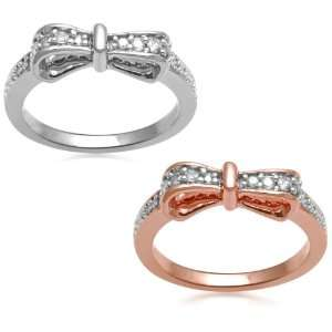 Set of Two 18k Rose Gold Plated and Sterling Silver Diamond Stackable
