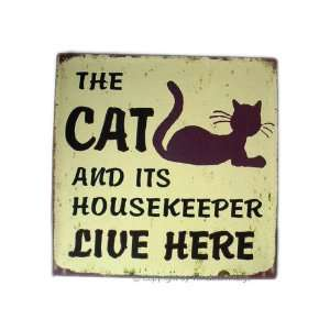 Vintage Cat Kitten Pet Iron Metal Wall Door Sign Plaque