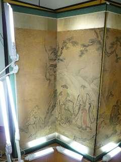 Chinese SCHOLAR Rojin Folding Screen BYOBU Painting ★★