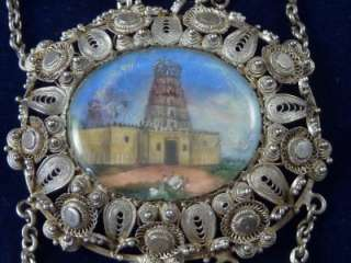 ANGLO INDIAN SILVER FILIGREE BRACELET HAND PAINTED MINIATURE OX BONE