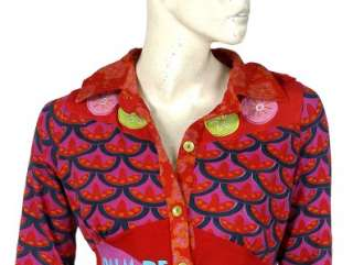 NEW $148 White Chocolate Printed Patchwork Cotton Shirt Blouse Top