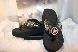 Montana West Flip Flops Sandals Texas Star Design Rhinestone Bling