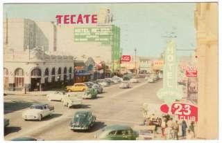 MEXICO 1960 Postcard Main Street Curio Shops Tijuana