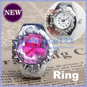 Popular Rose Rhinestone Charming Girls Finger Ring Quartz Time Watch