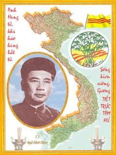 MAP OF VIETNAM WAR/VETERANS VNCH. MAP NGO DINH DIEM