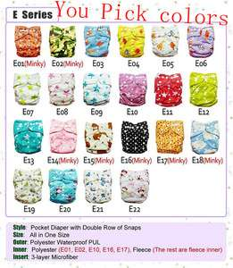 10 colorful baby AIO Cloth Diapers NAPPIES + 10 inserts
