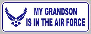 AF 1028 My Grandson is in Air Force Military Bumper Sticker Decal 3x9