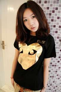 COMME Des GARCONS CDG PLAY GOLD HEART LADYS T SHIRT BLACK SZ M